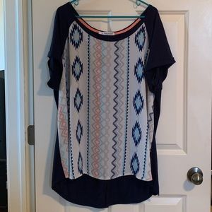 Blue and white blouse; Maurice's; Plus size 3x